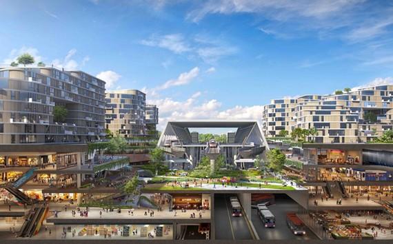 Phối cảnh 3D của đô thị Tengah, Singapore trong tương lai. Nguồn ảnh: HDB