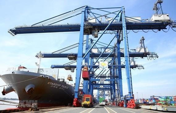Bốc xếp hàng hóa tại cảng Cát Lái, Thành phố Hồ Chí Minh. (Ảnh: Danh Lam/TTXVN)