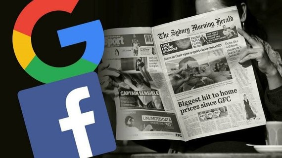 Google and Facebook stepped up efforts to reach news licensing deals in Europe after an overhaul of EU copyright laws in 2019. But some MEPs say the regime remains too weak © FT montage