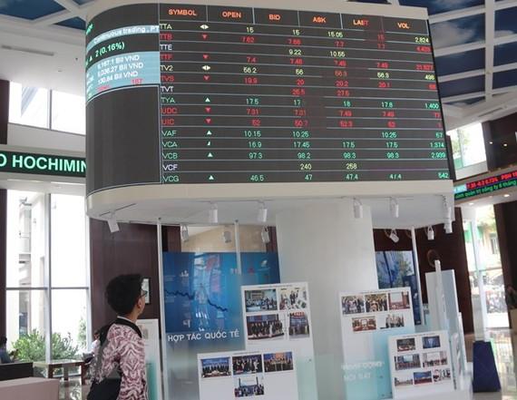 Nhà đầu tư theo dõi bảng giá chứng khoán tại sàn HOSE ngày 16/4/2021. (Ảnh: Hứa Chung/TTXVN)