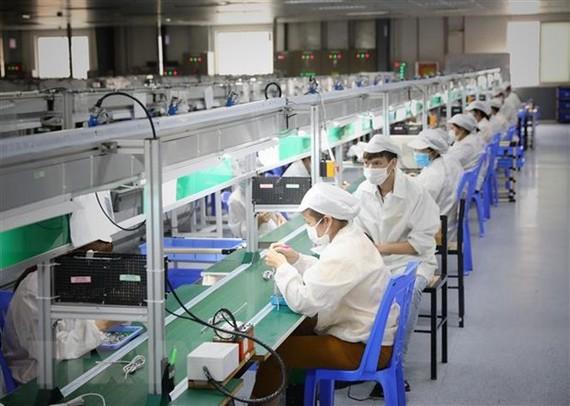 Công nhân làm việc tại Công ty TNHH New Wing Interconnect Technology, Khu công nghiệp Vân Trung, Bắc Giang. (Ảnh: Danh Lam/TTXVN)