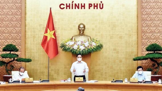 Thủ tướng Phạm Minh Chính phát biểu tại phiên họp thường kỳ của Chính phủ. Ảnh: VIẾT CHUNG