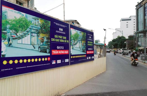 Nhà ga S12 (khu vực ga Hà Nội) đang tạm dừng thi công. Ảnh: Ngọc Thành.