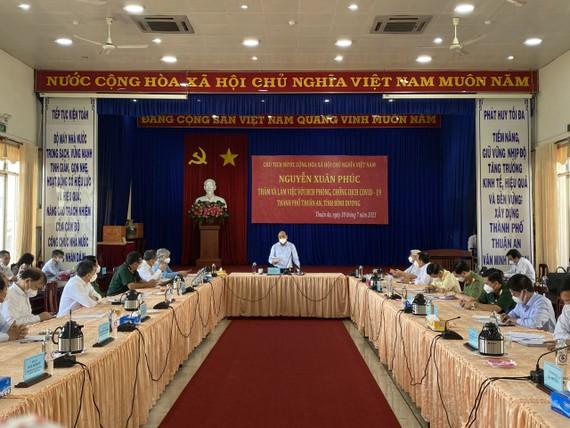 Chủ tịch nước Nguyễn Xuân Phúc phát biểu chỉ đạo tại buổi làm việc với lãnh đạo TP Thuận An