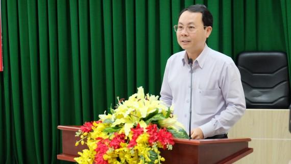 Chủ nhiệm Ủy ban Kiểm tra Thành ủy Nguyễn Văn Hiếu nhấn mạnh đến đòi hỏi nâng cao chất lượng đội ngũ cán bộ kiểm tra các cấp. Ảnh: KIỀU PHONG