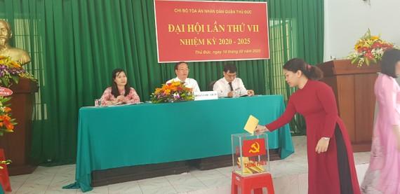 Đại biểu bầu cấp ủy TAND quận Thủ Đức nhiệm kỳ 2020-2025. Ảnh: ANH TIẾN