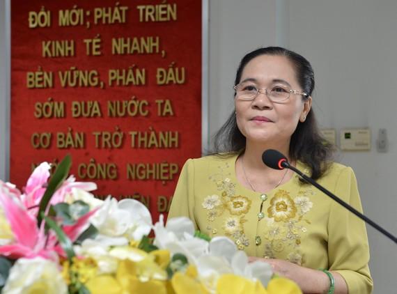 Chủ tịch HĐND TPHCM Nguyễn Thị Lệ phát biểu tại Hội nghị lần thứ 2 Ban Chấp hành Đảng bộ Quận 3. Ảnh: VIỆT DŨNG