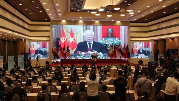 Tổng Bí thư, Chủ tịch nước Nguyễn Phú Trọng gửi thông điệp chào mừng đến Đại hội đồng AIPA 41. Ảnh: QUANG PHÚC