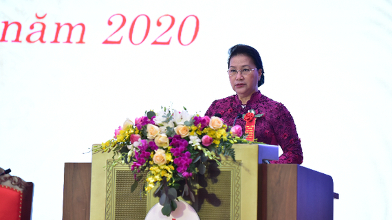 Chủ tịch Quốc hội Nguyễn Thị Kim Ngân dự và phát biểu tại Đại hội