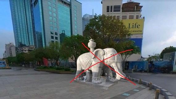 Tượng voi đá đặt ở phố đi bộ Nguyễn Huệ, TPHCM là không có thật