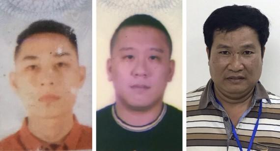 3 bị can bị khởi tố gồm: Mai Tiến Dũng (áo đỏ), Nguyễn Bảo Trung (áo đen) và Phạm Văn Hiệp (áo kẻ ngang)