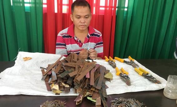 Phạm Bá Quang cùng tang vật thu giữ
