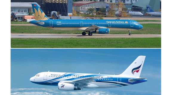 Máy bay của Vietnam Airlines và Bangkok Airways