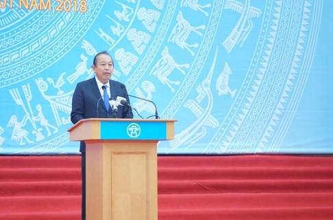Phó Thủ tướng Thường trực Chính phủ Trương Hoà Bình phát biểu tại Lễ ra quân. Ảnh: VGP