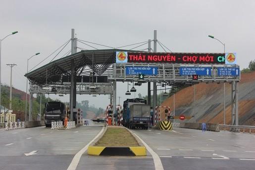 Trạm thu phí đặt trên cao tốc Thái Nguyên- Chợ Mới