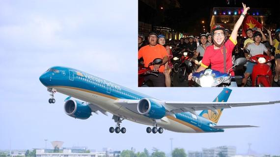 Máy bay A350 của Vietnam Airlines sẽ đưa cổ động viên từ sân bay quốc tế Phố Đông (Thượng Hải) đến sân vận động Trung tâm thể thao Olympic Changzhou, nơi diễn ra trận bán kết AFC Cup 2018 giữa hai đội tuyển U23 Việt Nam và U23 Qatar trong ngày 23-1