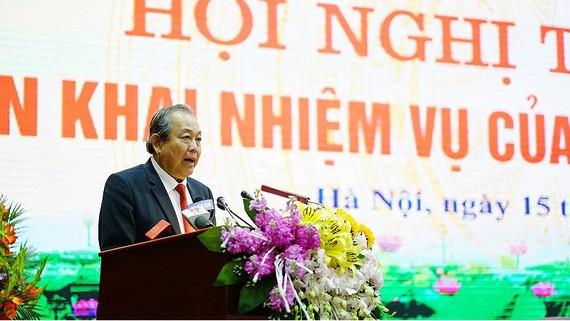 Phó Thủ tướng Thường trực Chính phủ Trương Hòa Bình phát biểu chỉ đạo trong Hội nghị sáng ngày 15-1 tại Bộ Nội vụ. Ảnh ĐỖ TRUNG