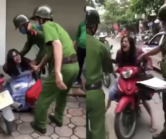 Công an Hà Nội thông tin về người phụ nữ chửi bới, đánh, cắn cảnh sát