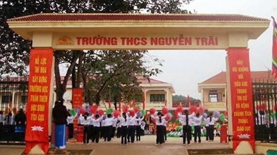 Trường THCS Nguyễn Trãi - nơi xảy ra sự việc. Ảnh: V.T.