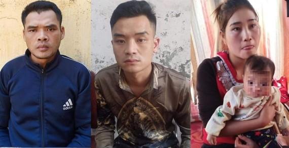 3 đối tượng Xeo Văn Lâm, Xeo Văn Đại và Ven Thị Thủy (từ trái sang)