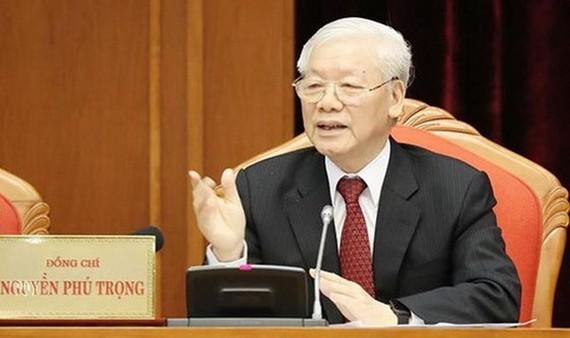 總書記、國家主席阮富仲在會議上致詞。