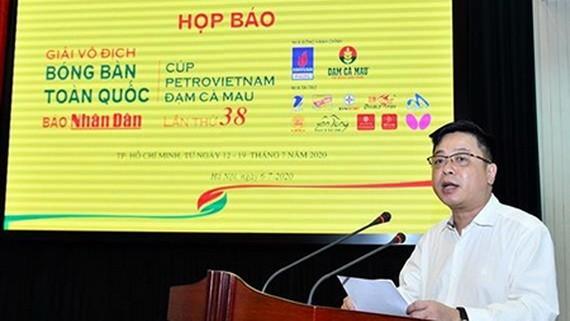 《人民報》社副總編輯、賽事組委會主任桂廷原在新聞發佈會上發言。
