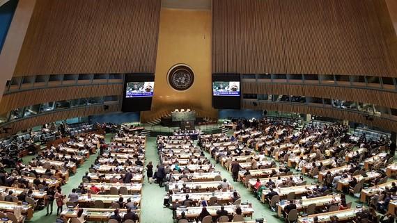 聯合國大會會議場景。