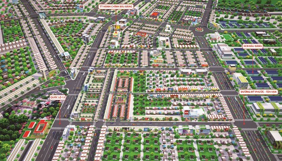 Phối cảnh dự án Golden Future City nằm ngay trung tâm đô thị - công nghiệp Bàu Bàng và hệ thống giao thông xung quanh
