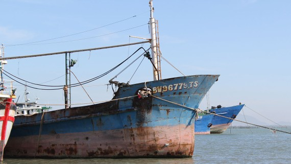 Tàu của ngư dân Phạm Ngọc Hoàng nằm bờ chờ giải cứu