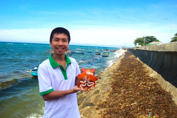 Anh Phạm Văn Công chuẩn bị thả một con cua huỳnh đế đang mang trứng về biển