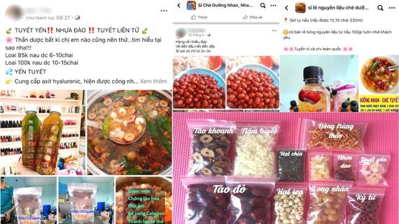 Chè dưỡng nhan giá rẻ với nguyên liệu không rõ nguồn gốc bán trên mạng xã hội