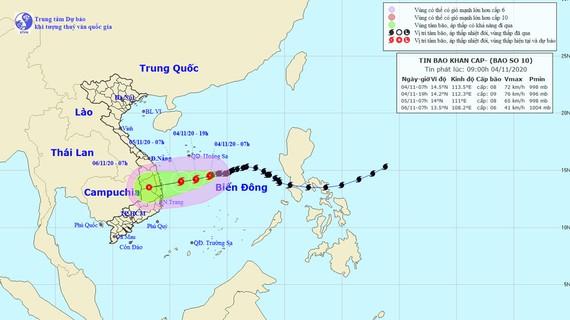 Đường đi của cơn bão số 10. Ảnh theo Trung tâm Dự báo KTTV quốc gia