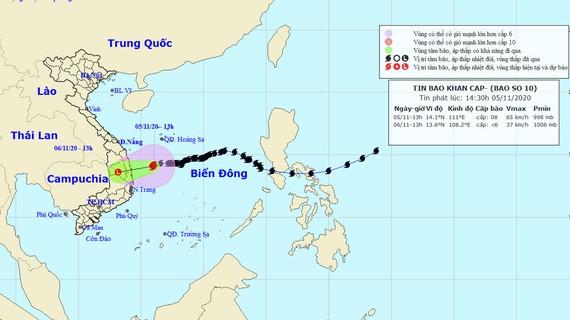 Đường đi của bão số 10. Ảnh theo Trung tâm KTTVQG