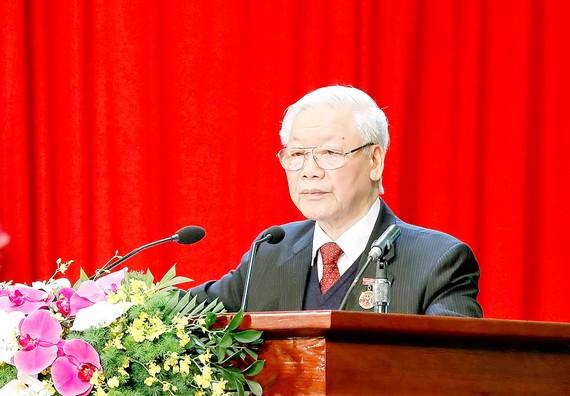 Tổng Bí thư, Chủ tịch nước Nguyễn Phú Trọng phát biểu tại Đại hội Thi đua yêu nước toàn quốc lần thứ X. Ảnh: QUANG PHÚC