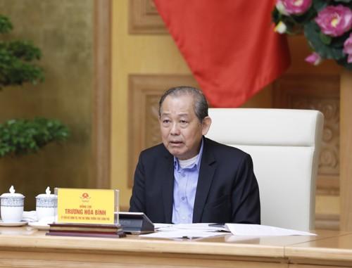 Phó Thủ tướng Thường trực Trương Hòa Bình chủ trì phiên họp. Ảnh: VGP/Nguyễn Hoàng
