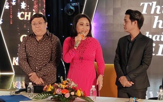 Nghệ sĩ Thanh Hằng trong buổi họp báo chương trình Thương hoài hai tiếng cải lương. Ảnh: H.K