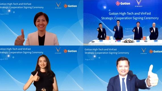 Lễ ký kết biên bản ghi nhớ hợp tác giữa VinFast và Gotion được thực hiện theo hình thức trực tuyến
