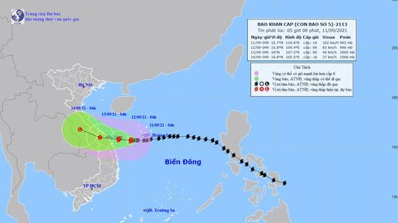 Đường đi của bão số 5. Ảnh: TTDBKTTVQG
