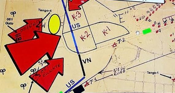 Vòng tròn màu vàng trên bản đồ là khu vực được xác định có hố chôn tập thể các chiến sĩ hy sinh trong trận đánh Tết Mậu Thân 1968