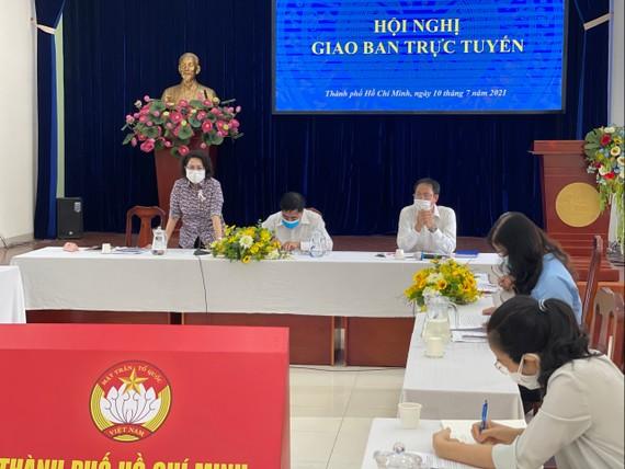Chủ tịch Ủy ban MTTQ Việt Nam TPHCM Tô Thị Bích Châu phát biểu tại hội nghị