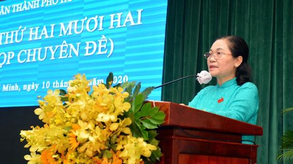 Chủ tịch HĐND TPHCM Nguyễn Thị Lệ phát biểu khai mạc kỳ họp. Ảnh: VIỆT DŨNG