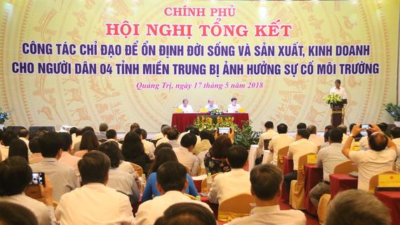 Hội nghị tổng kết công tác chỉ đạo để ổn định đời sống sản xuất, kinh doanh cho người dân 4 tỉnh miền Trung bị ảnh hưởng bởi sự cố môi trường biển do Formosa gây ra được tổ chức tại Đông Hà, Quảng Trị.