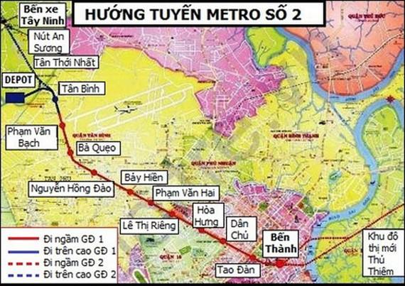 Hướng tuyến Metro số 2 Bến Thành - Tham Lương. Ảnh QUỐC HÙNG