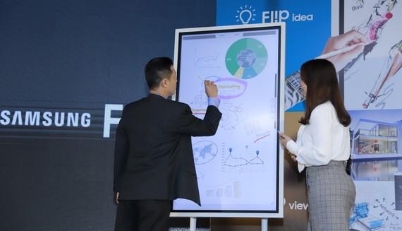 Samsung Flip WM55H thuận tiện cho hội họp, trao đổi, lên kế hoạch.