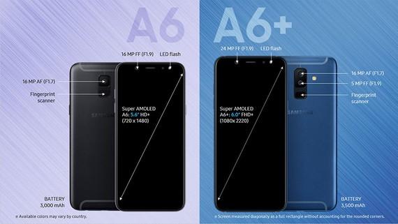Thông số căn bản của Galaxy A6/A6+