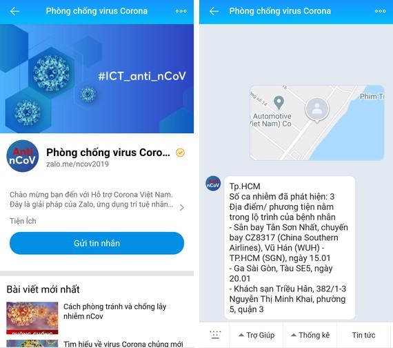 Chatbot về nCoV trên Zalo