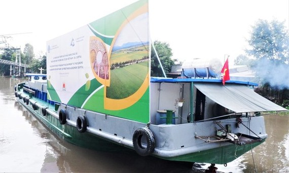 The first batch of fragrant rice in An Giang Province is ready for export to the EU. (Photo: SGGP)