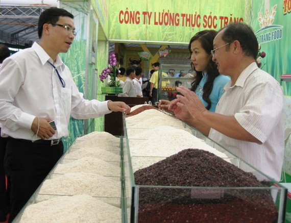 The representative of a rice producer introduces high-quality rice varieties of Soc Trang Province. (Photo: SGGP)