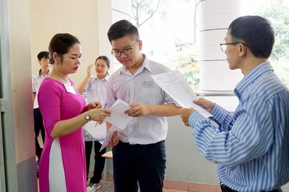 An exam venue in Bui Thi Xuan High School