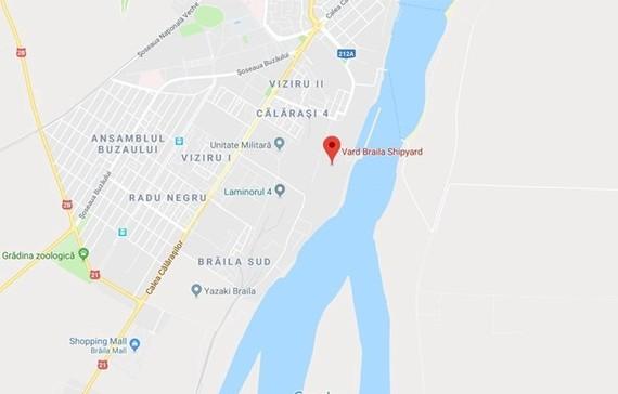 Location of Vard Braila Shipyard in the eastern city of Braila in Romania. (Photo: Google Maps)